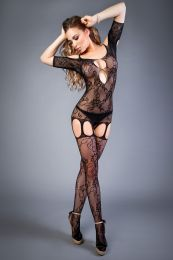 Грас. Сетка Bodystocking in net optics with rose patterns black, S-L (40-46)