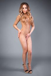 Грас. Сетка Bodystocking in net optics with huckelornament cream, S-L (40-46)